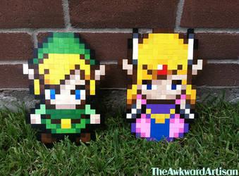 LoZ Link Zelda Wood Block Sprite Wall Art by RenMakimurs