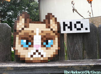 Grumpy Cat Wood Block Sprite Wall Art by RenMakimurs