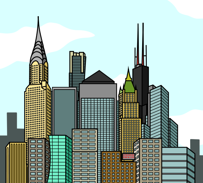 Cartoon City Skyline - Day by E350tb on DeviantArt