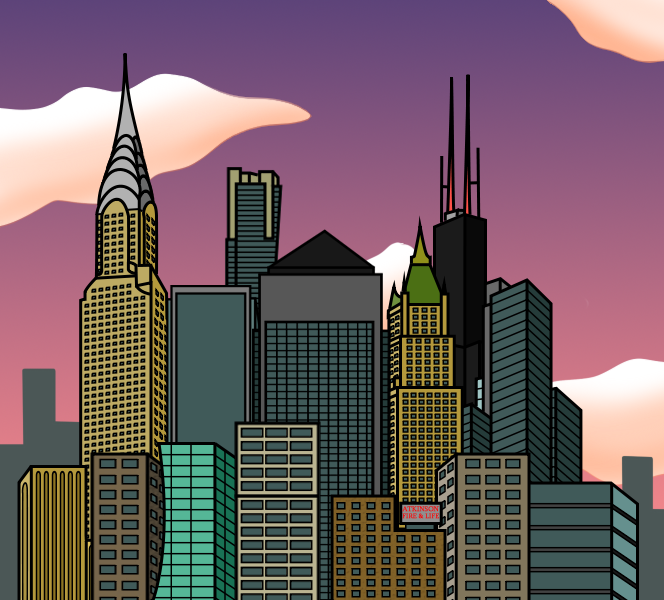 cartoon city skyline dusk by e350tb on deviantart rh deviantart com cartoon city skyline night cartoon city skyline png