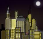 Cartoon City Skyline - Night by E350tb