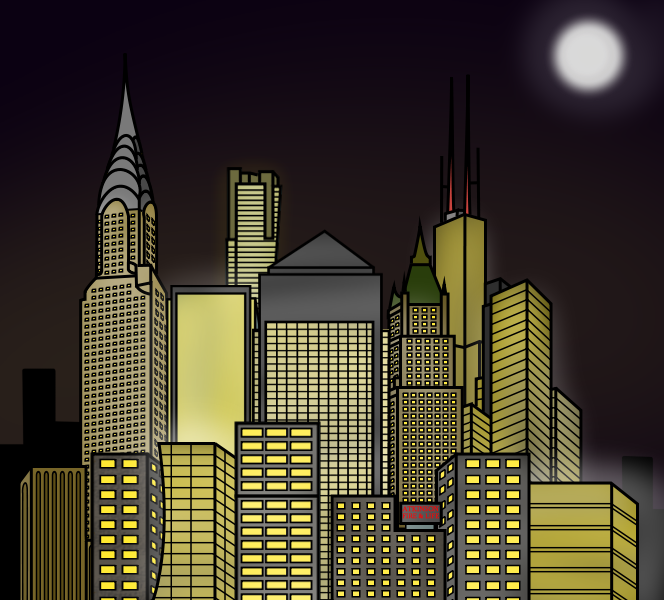 Cartoon City Skyline - Night by E350tb on DeviantArt