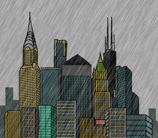 Cartoon City Skyline Cartoon City Skyline Rain by