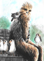 Chewie and porgs (watercolors) by MayTheForceBeWithYou