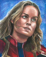 Captain Marvel (colored pencils ) by MayTheForceBeWithYou