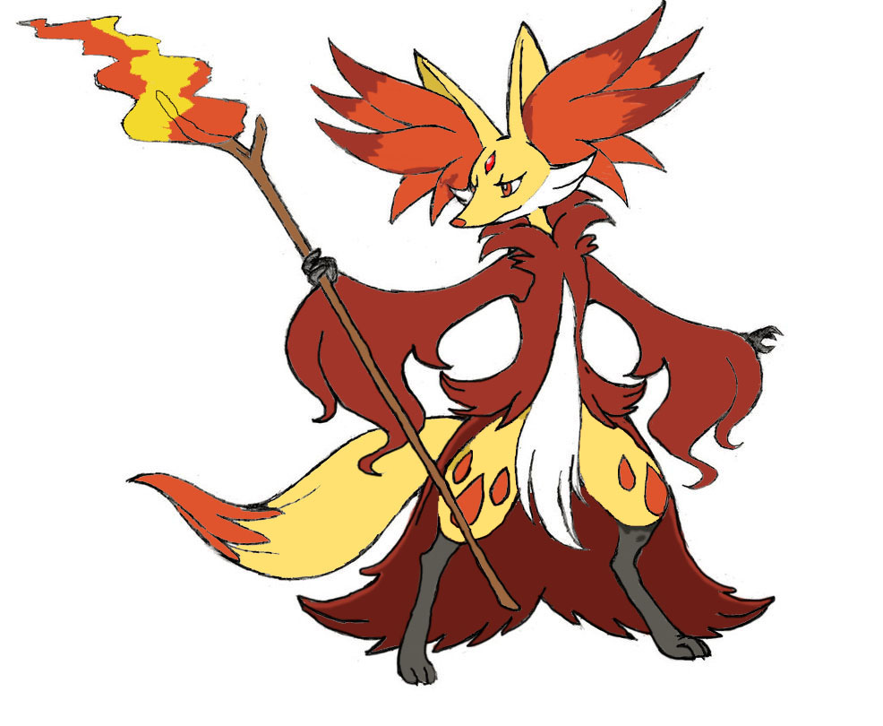Colored-in Mega Delphox (designed by XXD17) by Wildcat1999 on ...