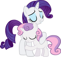 Sweetie Belle Hugs Rarity by IronM17