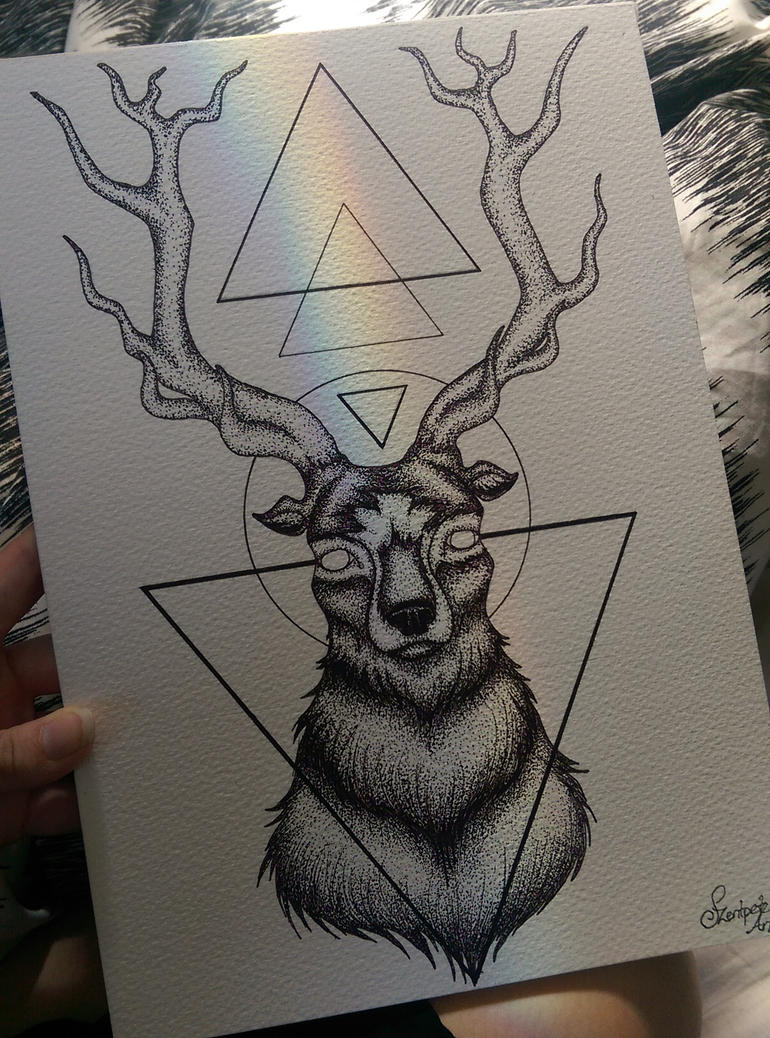 Dot work deer by Bianca-Szentpeteri