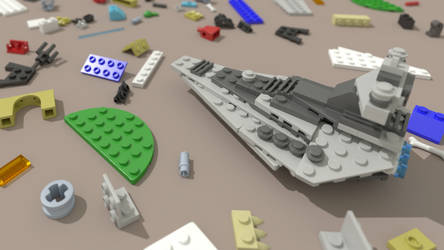 LEGO Star Destroyer on table by Walruserine