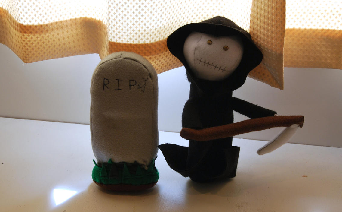 Fuzzy Death And Tombstone by phraxdust