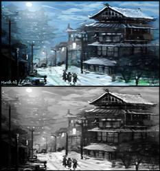 Snow-village-study by HRishiraj