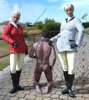 Baroness and daughter with their punished slave by Louferrox