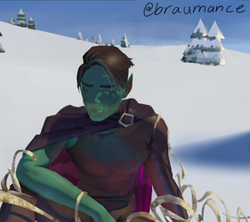 (DnD fanart of Critical Role) Fjord waking up.