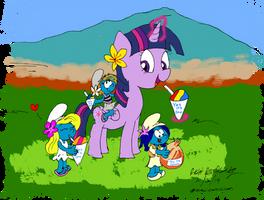 Twilight Sparkle and the Smurfs on Maui (Color)