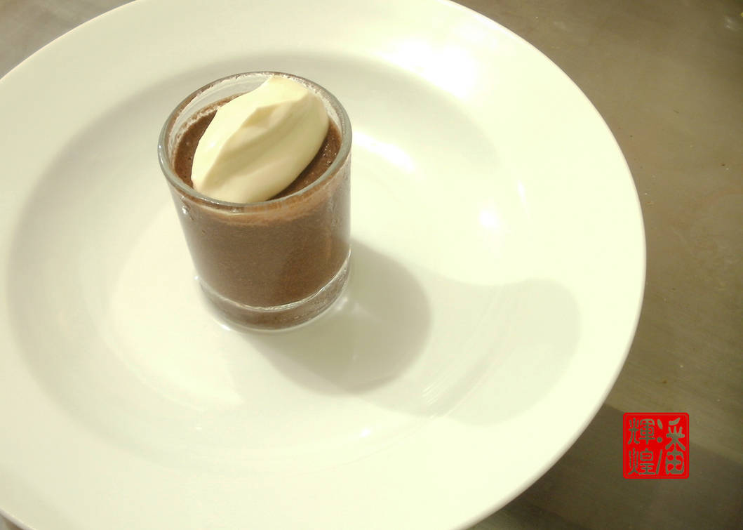 Chocolate Mousse in Shot Glass Topped with Cream