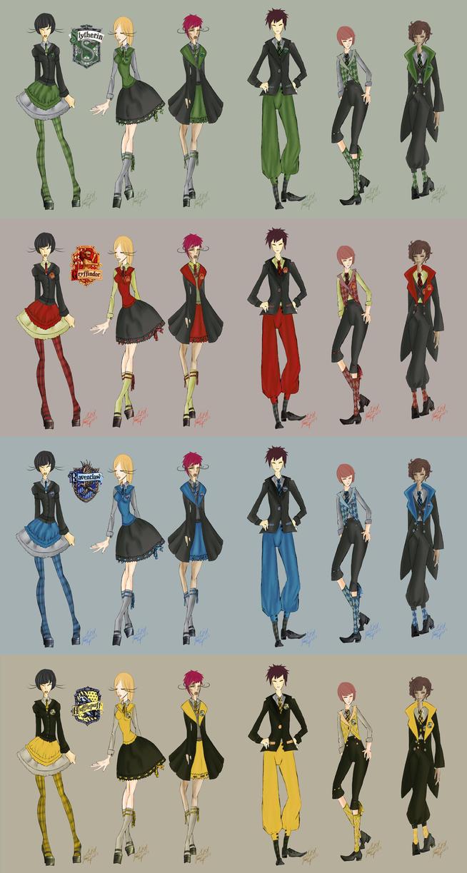 Hogwarts Lolita and Kodona Uniforms by VanityElric