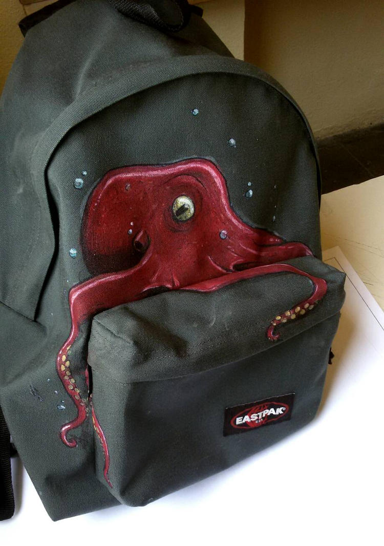Octopus on Backpack by PaperSaurus