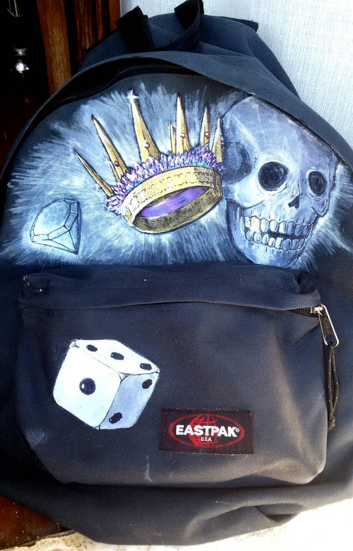 Diamond, crown, skull and dice on Backpack  by PaperSaurus