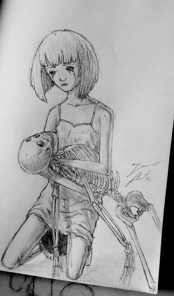 Young Mila with Skeleton by PaperSaurus