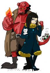 hellboy and Liz by piyo119