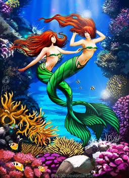Commission - Mermaid Twins