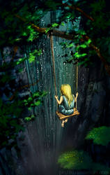 Swings under the waterfall by pin100