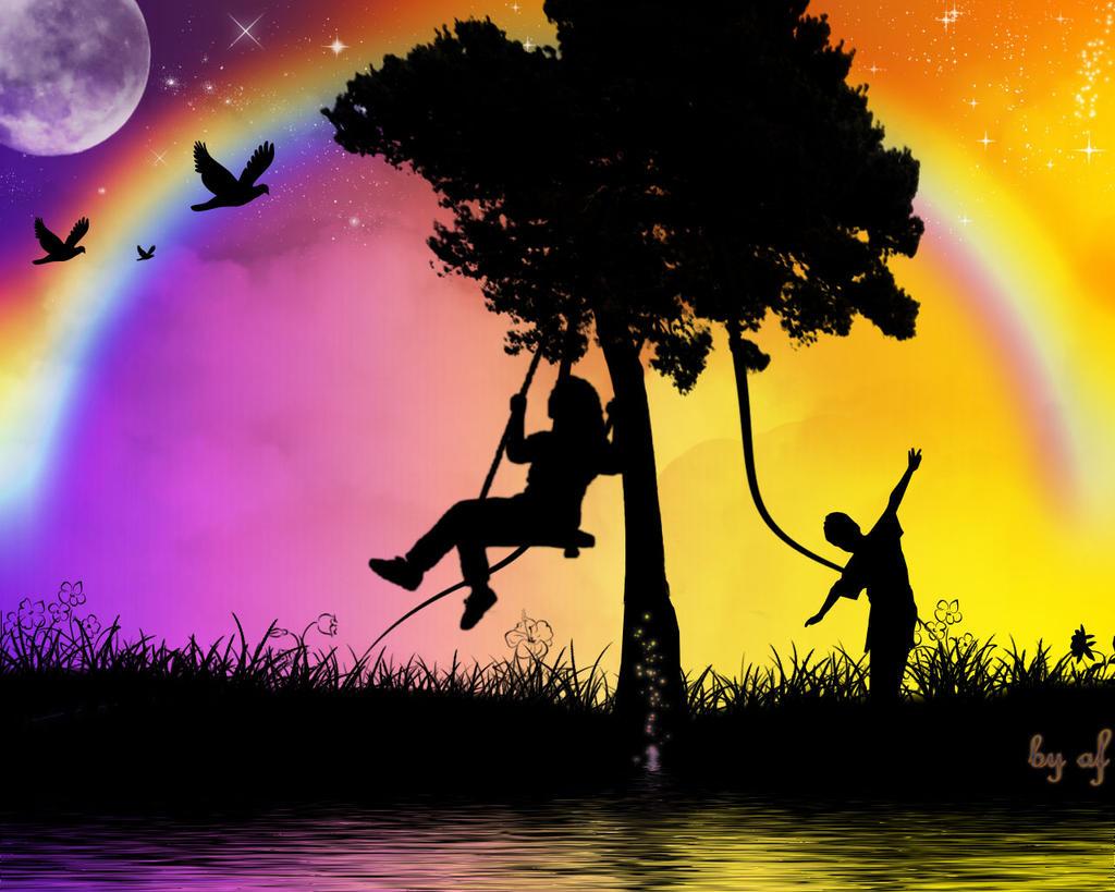 Gökkuşağı ve mutluluk arka plan resmi, rainbow and happiness