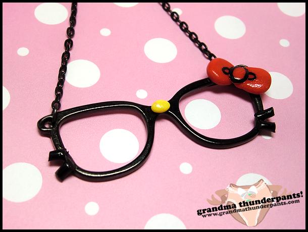 Nerdy Hello Kitty Necklace by GrandmaThunderpants