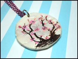 Cherry Blossom Paper Lantern Necklace by GrandmaThunderpants