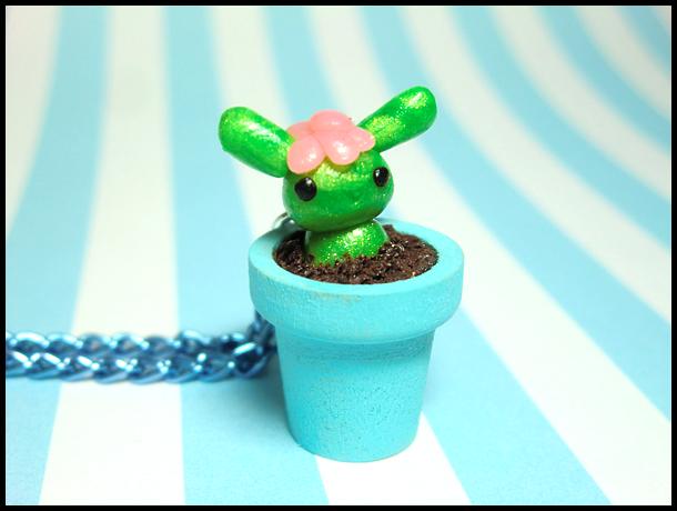 Bunny Flower Necklace by GrandmaThunderpants