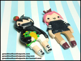 Kid Sasuke + Kid Sakura by GrandmaThunderpants