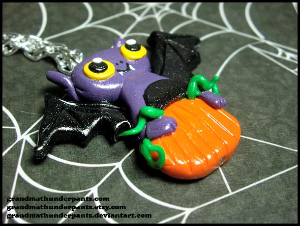 Pumpkin Bat Necklace by GrandmaThunderpants