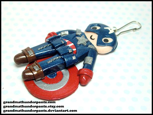 Captain America Keychain by GrandmaThunderpants