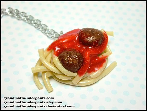 Spaghetti + Meatball Necklace by GrandmaThunderpants