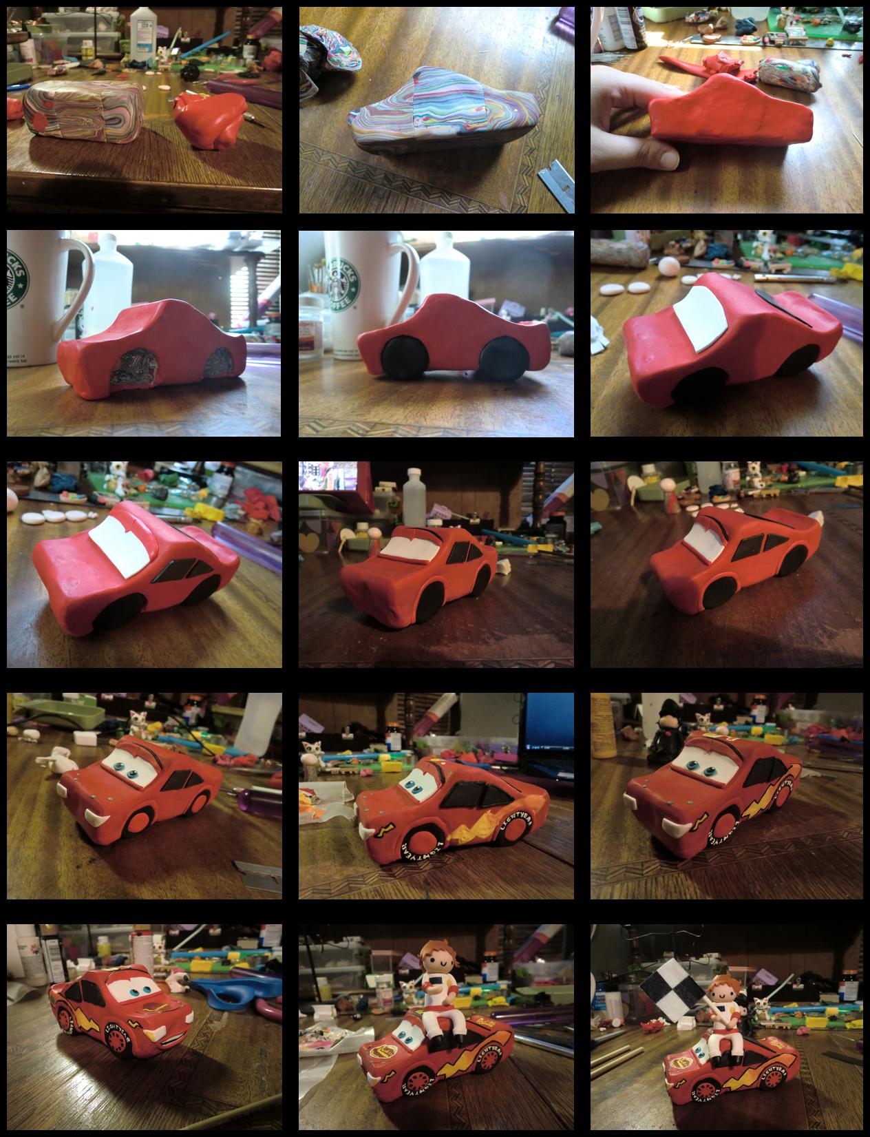 Cars Cake Topper Progress by GrandmaThunderpants