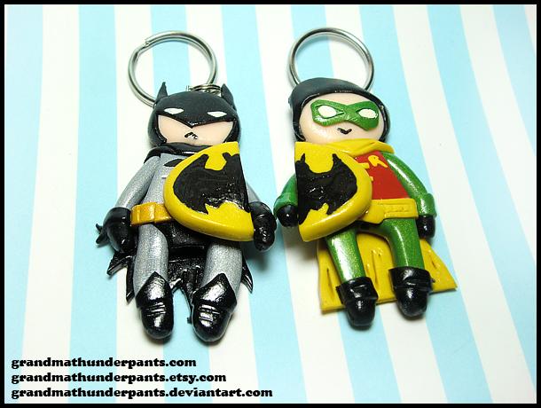 Batman and Robin Keychain Set by GrandmaThunderpants