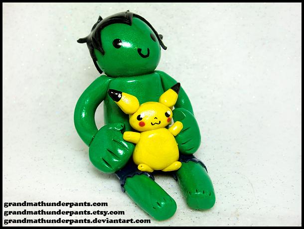 Hulk + Pikachu Figure by GrandmaThunderpants