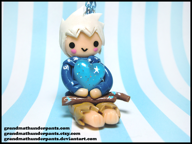 Jack Frost Chibi Heart Necklace by GrandmaThunderpants