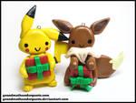 Pikachu and Eevee Ornaments by GrandmaThunderpants