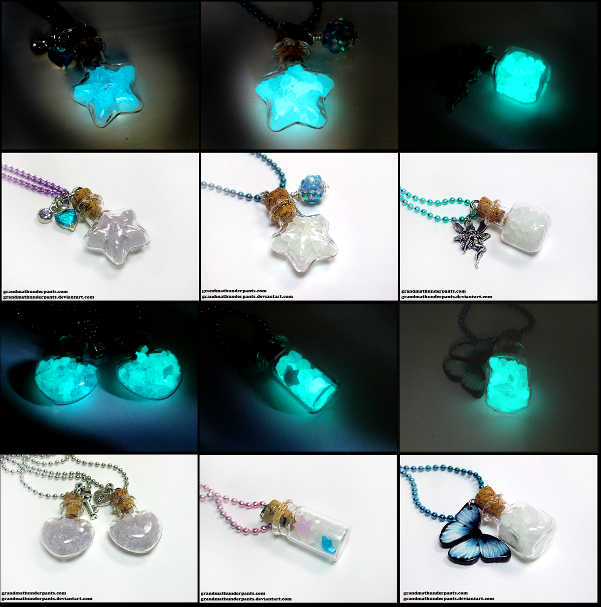 New Glow Crystal Necklaces by GrandmaThunderpants
