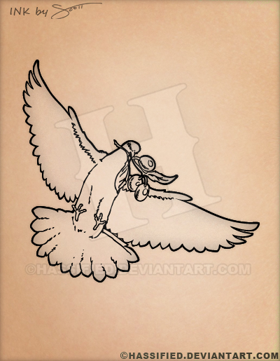 dove with olive branch tattoo by hassified on deviantart rh deviantart com dove carrying olive branch tattoo meaning small dove with olive branch tattoo