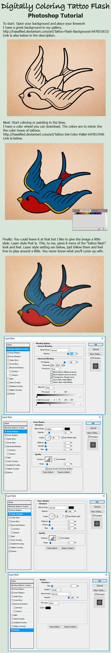 Digitally Coloring Tattoo Flash Tutorial by hassified