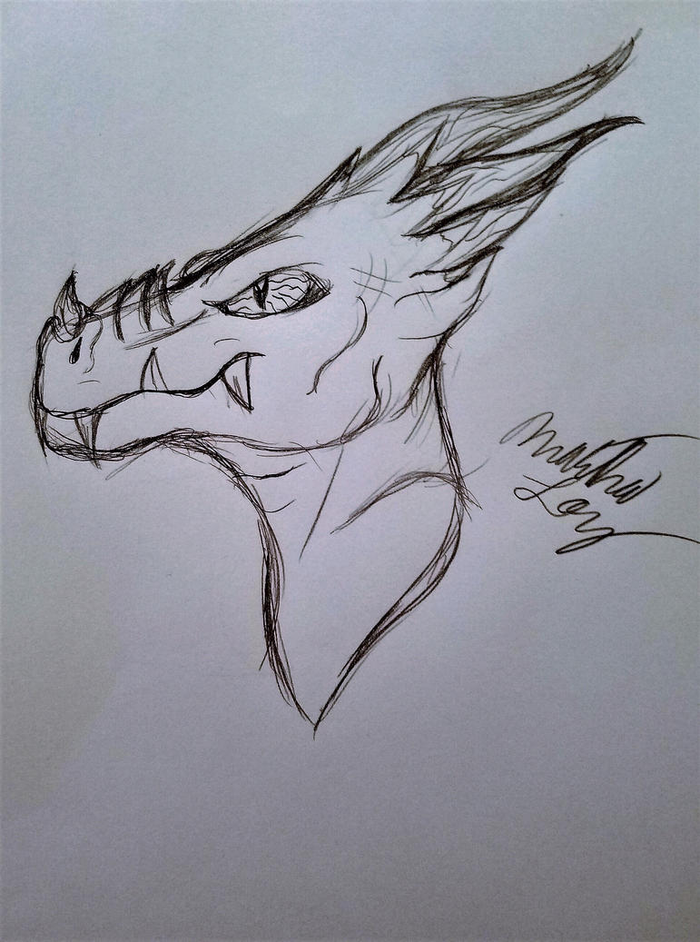 Draconian Head Sketch by Cookiedough-Gecko