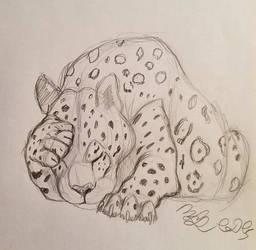 Leopard Sketch by Cookiedough-Gecko