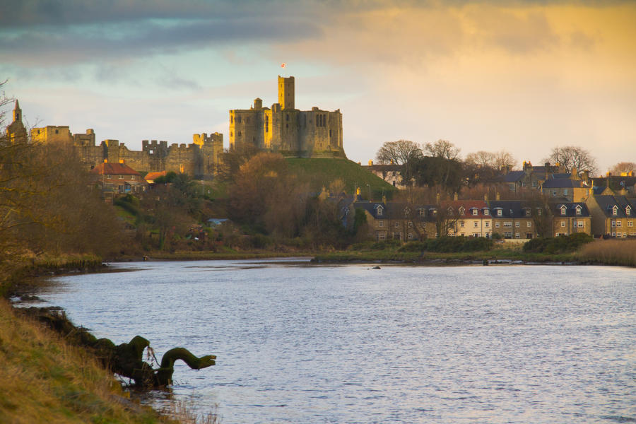 Warkworth castle and River Coquet by monotone2k