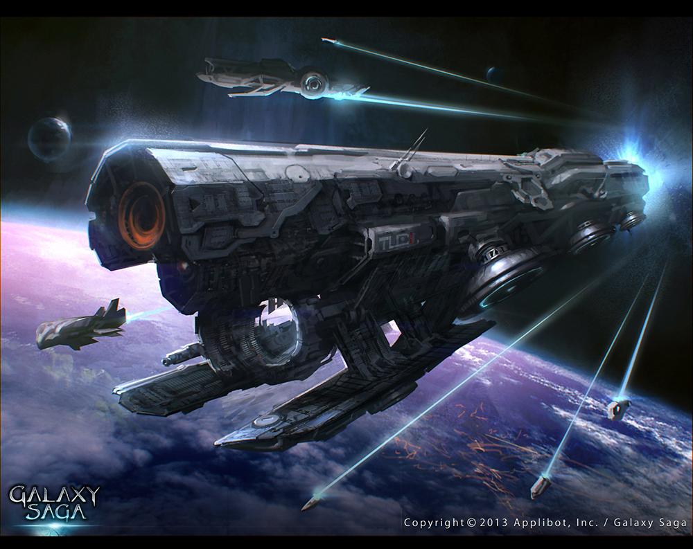 Galaxy Saga_Space ship Tlaloc_adv by moonworker1