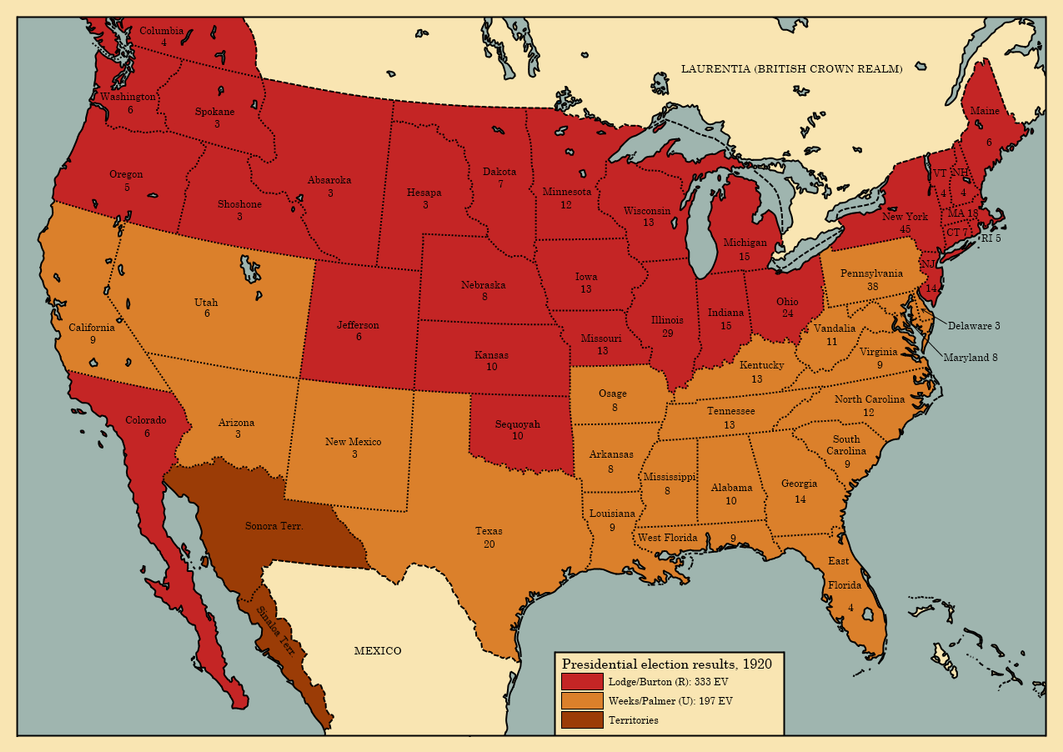 The United States presidential election, 1920 by TheAresProject