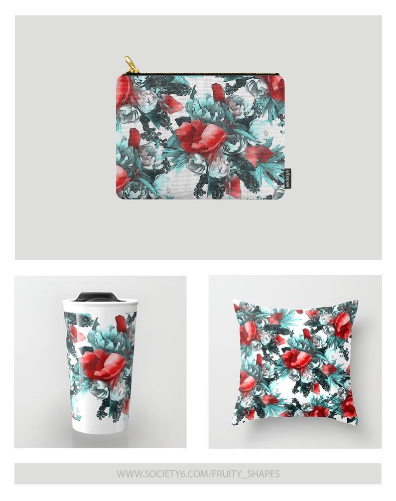 Fancy Red Flowers Pattern by fruity-shapes