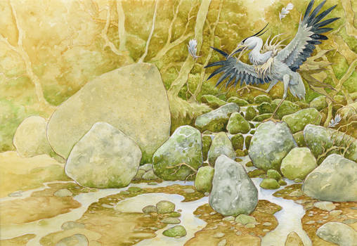 Heron's not happy by 3-hares