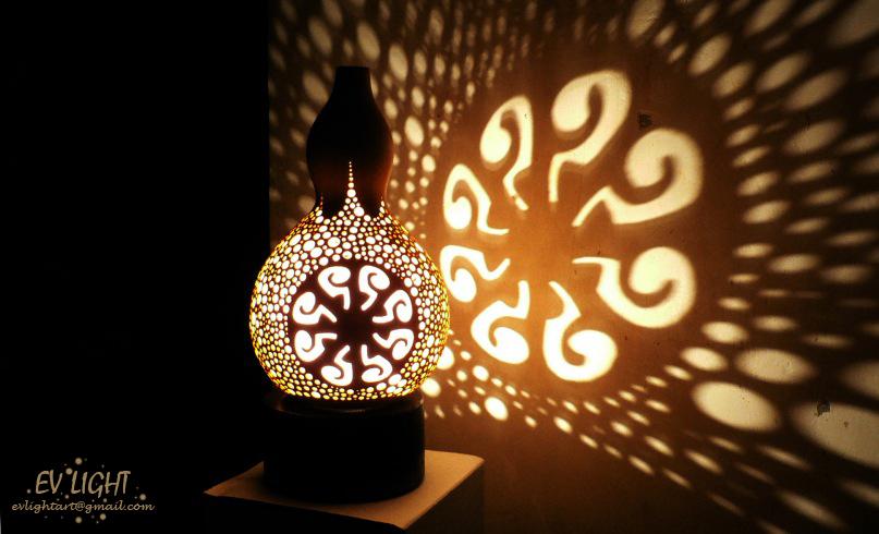 Oranguan Gourd Lamp At Night By EvaLightArt ...